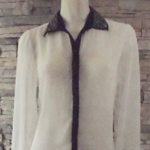Button-Down Sheer Blouse White W/Beaded Collar S